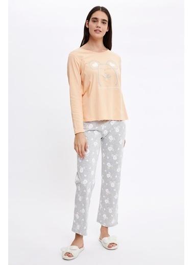 Defacto –Fit Fare Baskılı Uzun Kollu Pijama Takımı Gri